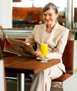 A kind happy woman smiling on her lunch break Royalty Free Stock Photos