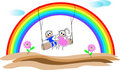 Kinder mit Regenbogen Stockfotos