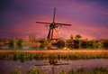 Kinderdijk windmill Royalty Free Stock Photo