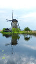 Kinderdijk reflections one of the most visited touristic attractions in the netherlands Royalty Free Stock Photo