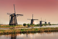 Kinderdijk windmills unesco heritage site a village which drains its polder with built around it is the largest group of old Royalty Free Stock Image
