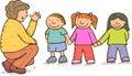 Kinderen en volwassene Stock Foto