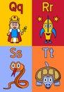 Kindergarten Alphabet Q-T Royalty Free Stock Photo