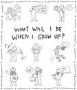 Kindergarten children pencil line doodle drawing sketch of cartoon character job professions which they dream to be when grow up