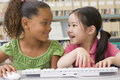 Kindergarten children using computer Royalty Free Stock Photo