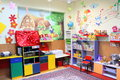 Kindergarten class neat room without kids decorated Stock Photography