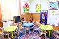 Kindergarten classroom class room without kids Stock Image