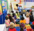 Kindergarten classroom teacher teaching to children Stock Photography