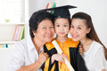 Kindergarten graduate graduation happy asian family grandparent parent and grandchild on her day Royalty Free Stock Photo