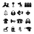 Kindergarten icons set, simple style