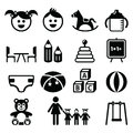 Kindergarten, nursery, preschool icons set Royalty Free Stock Photo