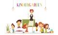 Kindergarten Teacher With Kids Cartoon Illustration