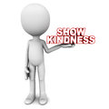 Kindness show words in hands of a little man white background Stock Image