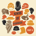 Kinds of headwear part flat icons Stock Photo