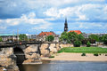 King August the Strong bridge over the River Elbe in Dresden, Germany Royalty Free Stock Photo