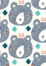 King bear vector seamless repeat pattern background with gray bear faces and aqua and teal plus signs