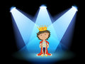 A king at the center of the stage illustration Stock Photo