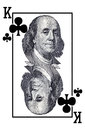 King of clubs with portrait benjamin franklin Stock Photography