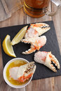 King crab fists with beer Royalty Free Stock Photo