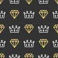 King crown and brilliant on seamless pattern background. Royal crown and diamond outline on black background.