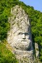 King decebalus rock sculpture on danube shores stone river of dacian Royalty Free Stock Images