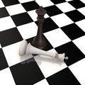 King defeats king in chess game - 3d image Stock Photography