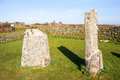 King donierts stone cornwall consisting of two pieces of a decorated th century cross near st cleer bodmin moor Royalty Free Stock Photo