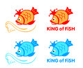 King of fish symbol in two color variants Royalty Free Stock Image