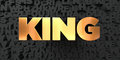 King - Gold text on black background - 3D rendered royalty free stock picture