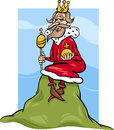 King of the hill saying cartoon humor concept illustration or proverb Royalty Free Stock Photo