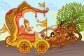 King in horse chariot vector illustration of riding Royalty Free Stock Photo