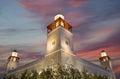 King hussein bin talal mosque in amman at night jordan Stock Image