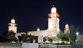 King hussein bin talal mosque in amman at night jordan Stock Photography