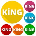 King icons set with long shadow