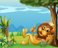A king lion relaxing under a big tree illustration of Royalty Free Stock Image
