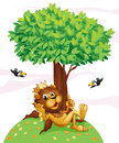 A king lion and the two birds illustration of on white background Royalty Free Stock Images