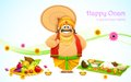 King mahabali in onam background illustration of Royalty Free Stock Images