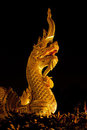 King of Naga in front of buddhism temple Stock Image
