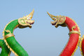 King of nagas closeup head the statue symbol in the watsaman rattanaram chachoengsao Royalty Free Stock Images
