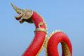 King of nagas closeup head the statue symbol in the watsaman rattanaram chachoengsao Stock Image