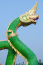 King of nagas closeup head the statue symbol in the watsaman rattanaram chachoengsao Royalty Free Stock Photo