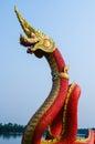 King of nagas closeup head the statue symbol in the watsaman rattanaram chachoengsao Stock Photos