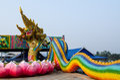 King of nagas closeup head the statue symbol in the watsaman rattanaram chachoengsao Stock Photo