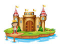 A king near the castle illustration of on white background Royalty Free Stock Images