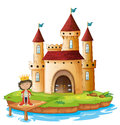 A king outside his castle illustration of on white background Stock Photos