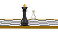 King and pawn on chessboard d render Royalty Free Stock Photo