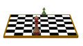 King and pawn on chessboard d render Royalty Free Stock Image