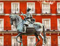 King philip iii equestrian statue plaza mayor madrid spain built in the famous square cityscape created in by sculptors gambologna Stock Image