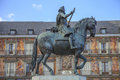 King philip iii statue in plaza mayor madrid the bronze of spain Stock Images