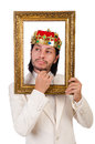 King with picture frame on white Royalty Free Stock Images
